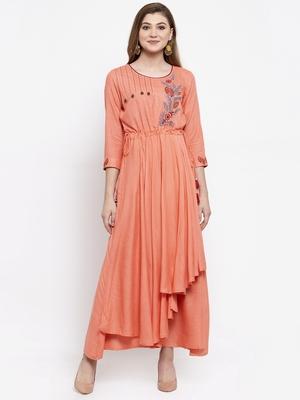 Peach woven viscose rayon maxi-dresses
