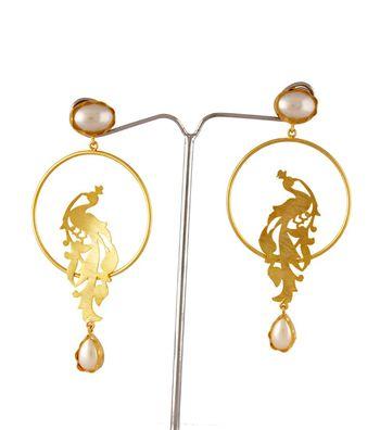 Sihiri Vibrant Golden Peacock Earrings