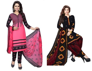 Multicolor abstract print crepe salwar