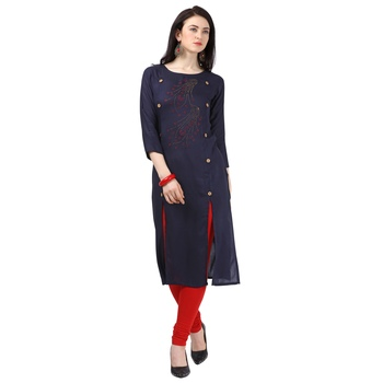 Blue plain rayon party-wear-kurtis