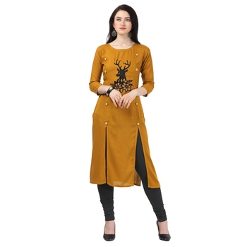 Light-mustard plain rayon party-wear-kurtis