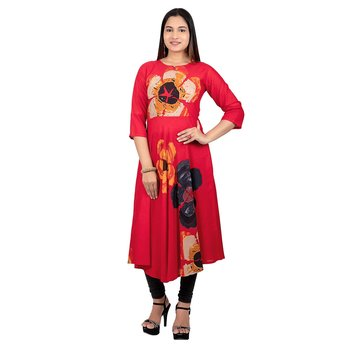 Red printed rayon long-kurtis