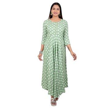 Dark-green printed cotton long-kurtis