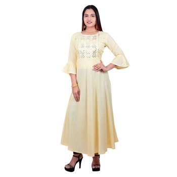 Yellow embroidered cotton long-kurtis