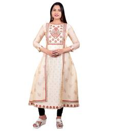 Cream embroidered georgette long-kurtis