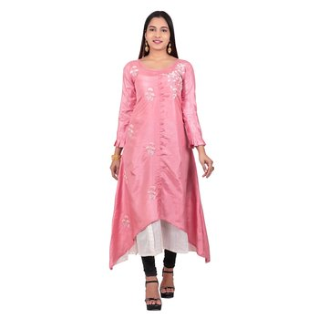 Light-pink embroidered georgette long-kurtis