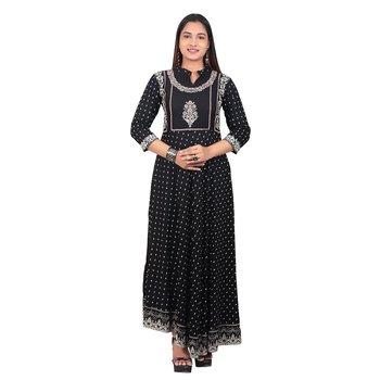 Black printed cotton long-kurtis