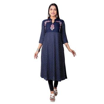 Navy-blue printed cotton long-kurtis