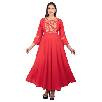 Red embroidered cotton long-kurtis