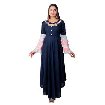 Navy-blue embroidered cotton long-kurtis