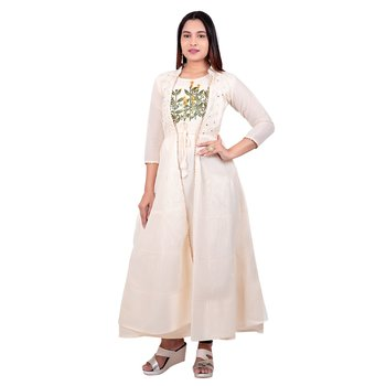 Off-white embroidered georgette long-kurtis