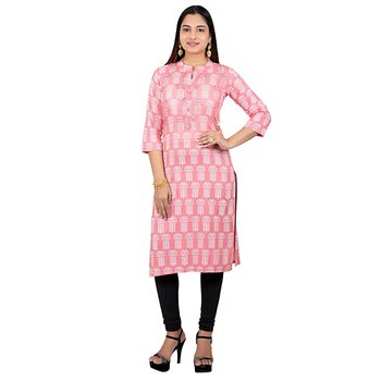 Baby-pink printed cotton long-kurtis