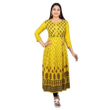 Light-yellow printed cotton long-kurtis