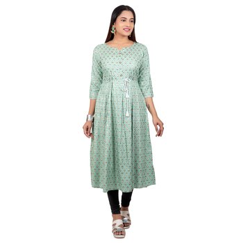 Turquoise printed cotton long-kurtis