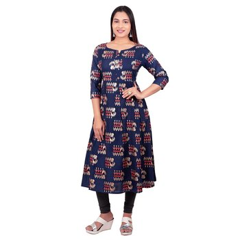Navy-blue printed cotton long-kurtis