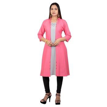 Pink plain georgette long-kurtis