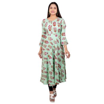 Sea-green printed cotton long-kurtis