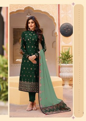Green embroidered Treads Work Rangoli silk salwar Suit Dupatta