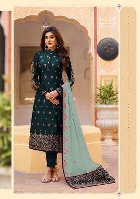 Rama green embroidered Treads Work Rangoli silk salwar Suit Dupatta