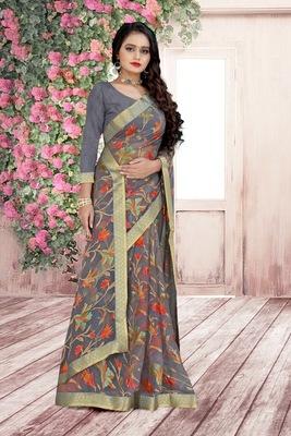 beautiful grey brasso saree with blouse piece