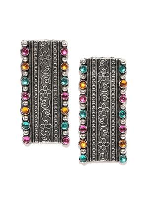Infuzze Oxidised Silver-Toned & Pink Beaded & Textured Rectangular Drop Earrings
