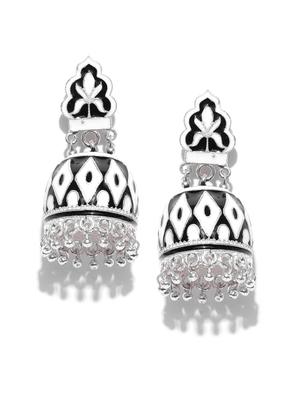 Infuzze Silver-Toned & Black Dome Shaped Meenakari Jhumkas