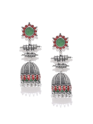 Infuzze Oxidised Silver-Toned & Red Enamelled Dome Shaped Jhumkas