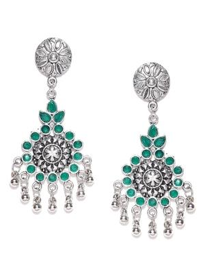 Infuzze Oxidised Silver-Toned & Green Stone-Studded Classic Drop Earrings