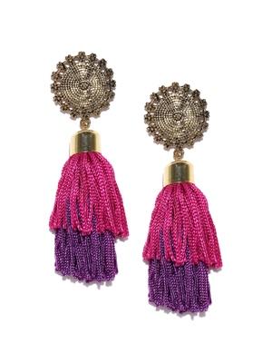 Infuzze Antique Gold-Toned & Pink Tasseled Circular Drop Earrings