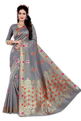 Blissta Grey Semi Banarasi Silk Woven Work Banarasi Saree With Running Blouse