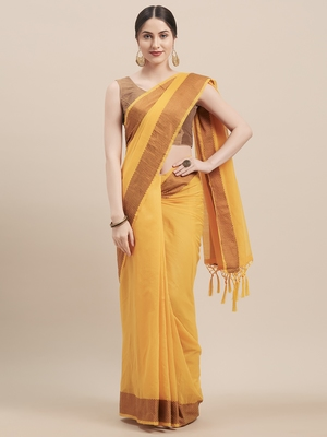 Yellow Coloured Solid Cotton Silk Saree With Blouse Piece