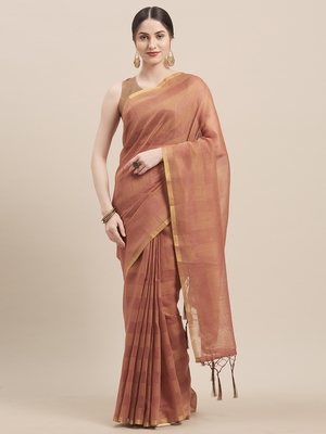 Brown Coloured Solid Cotton Silk Saree With Blouse Piece