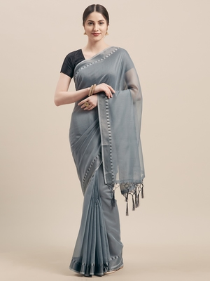 Grey Coloured Solid Cotton Silk Saree With Blouse Piece