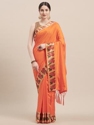 Orange Digital Printed Colored Sana Silk Saree With Blouse Piece