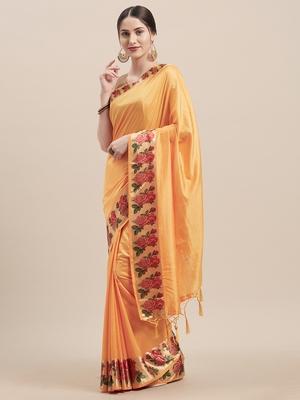 Yellow Digital Printed Colored Sana Silk Saree With Blouse Piece