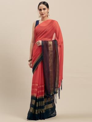 Red & Navy Coloured Chiffon saree with Blouse Saree.