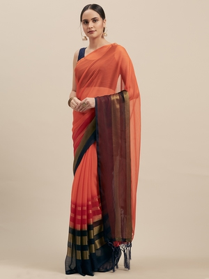 Orange & Navy Coloured Chiffon saree with Blouse Saree.