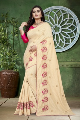 Off-White Embroidered Silk Saree With Blouse