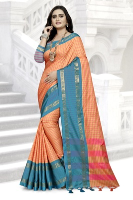 Sky Blue Printed Cotton Silk Saree With Blouse