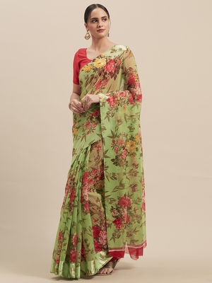 Woman's Green  Colored Digital Printed Cotton Blend Saree