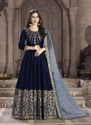 Dark-blue embroidered silk salwar