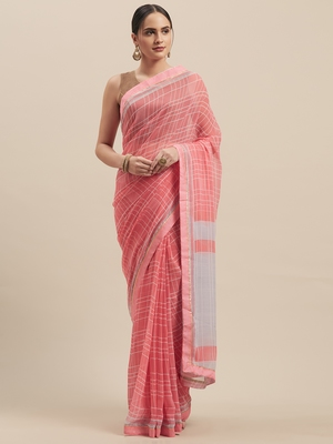 Woman's Pink Colored Poly Chiffon Checked Saree