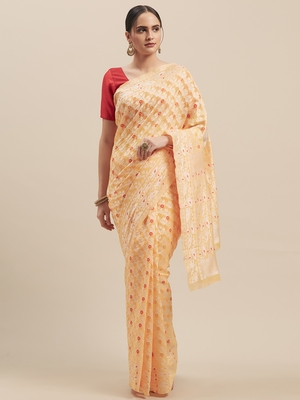Yellow Coloured Solid Cotton Mint Saree With Blouse Piece