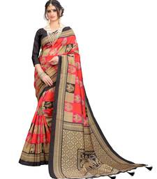Latest Designer Printed Cotton Poly silk Regular saree with Blouse