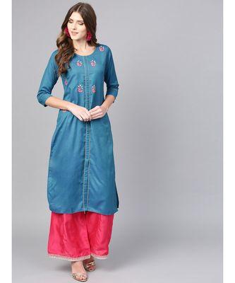 Women Teal Solid Straight Handloom Cotton Kurta