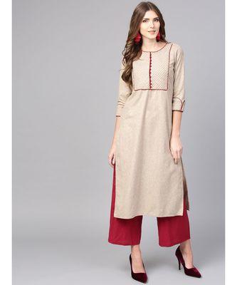 Women Beige Solid Straight Handloom Cotton Kurta