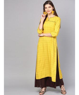 Women Mustard Geometric straight Yarn Dyed Rayon Kurta