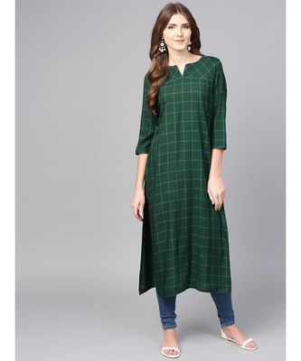 Women Green Geometric straight Yarn Dyed Rayon Kurta