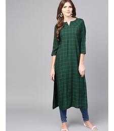 Women Green Geometric straight Yarn Dyed Rayon Kurta