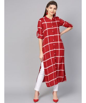 Women Red Geometric straight Yarn Dyed Rayon Kurta
